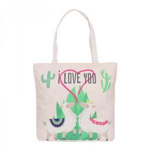 Handbags - NWT Adorable Zippered Llama Print Large Tote Bag
